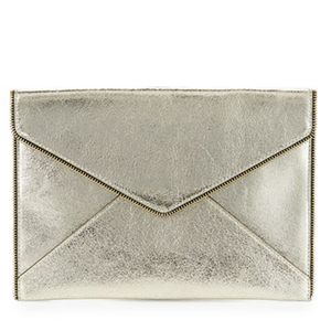 Sliver Metallic Leather Clutch Bag