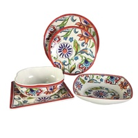 Rustic flower tableware 5 PCS melamine dinner set for home use
