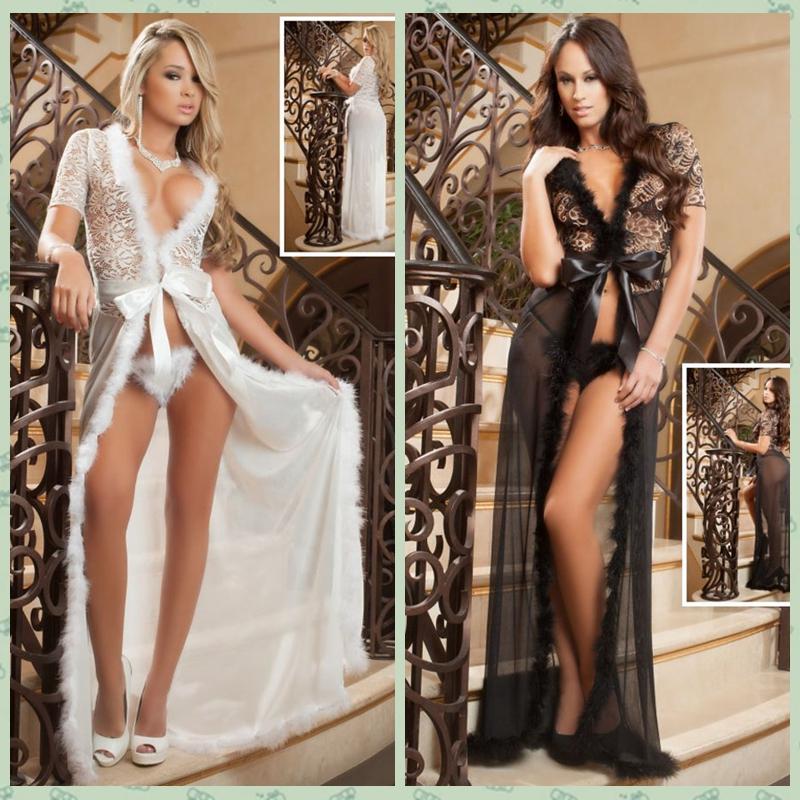 7049d5f5edb Summer style 2015 new costumes erotic lingerie plus size ladies sexy  sleepwear white black fur trim glam long night robe 60365