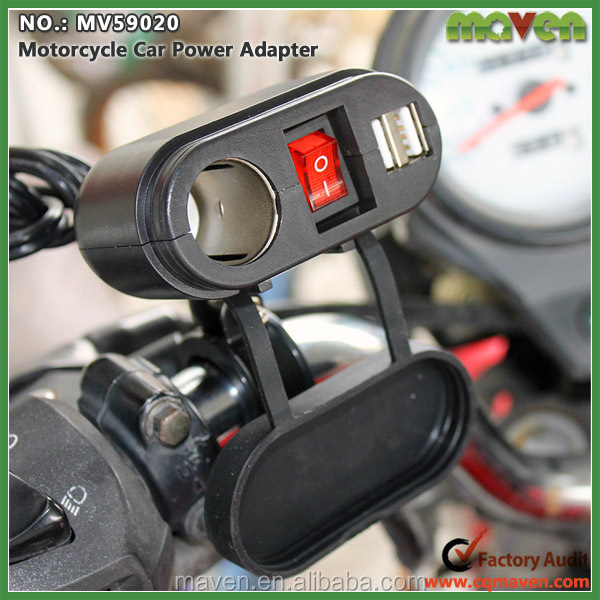 electric cigarette lighter USB Charger Port for Motorcycle ATV Scooter Mopeds Motorbikes
