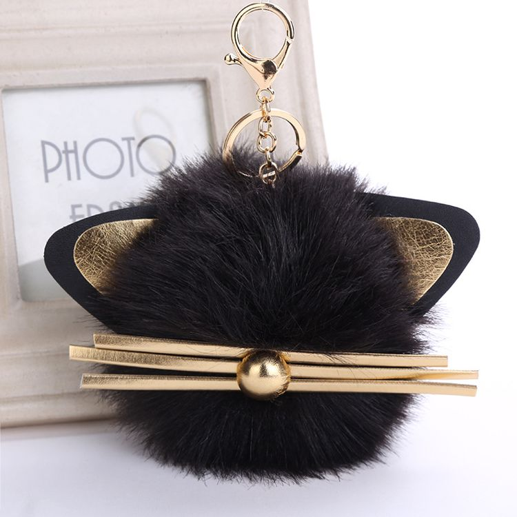 2017 Wholesale New Faux Fur Pom Pom Custom Cute Cat Keyring Key Chain for Bags