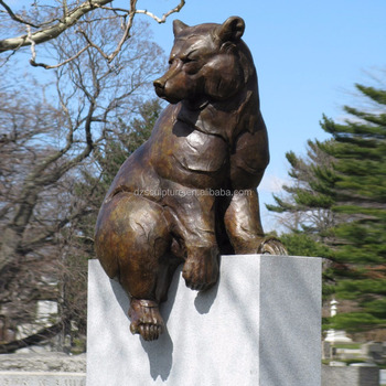 Life Size Outdoor Sitting Bear Animal Metal Statues For Garden View Larger Image