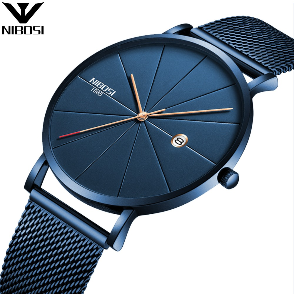 NIBOSI 2321 Watch 40mm Unisex Ultra Thin IP Blue Minimalist Watch Men