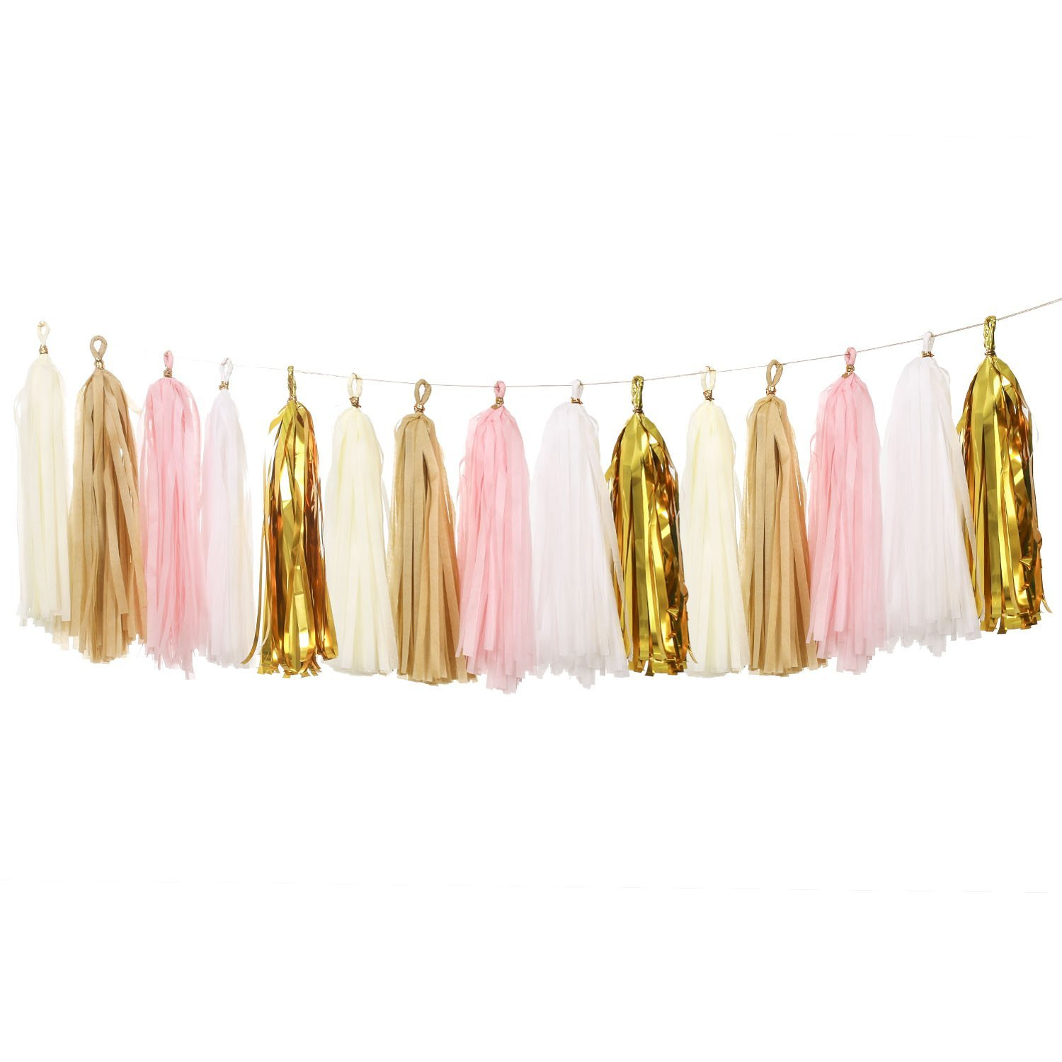 Ling's moment 20 PCS Tassel Garland Banner Tissue Paper Tassels for Wedding Baby Shower Event & Party Supplies DIY Kits - (Pink+Metallic Gold+Ivory+White+Tan)