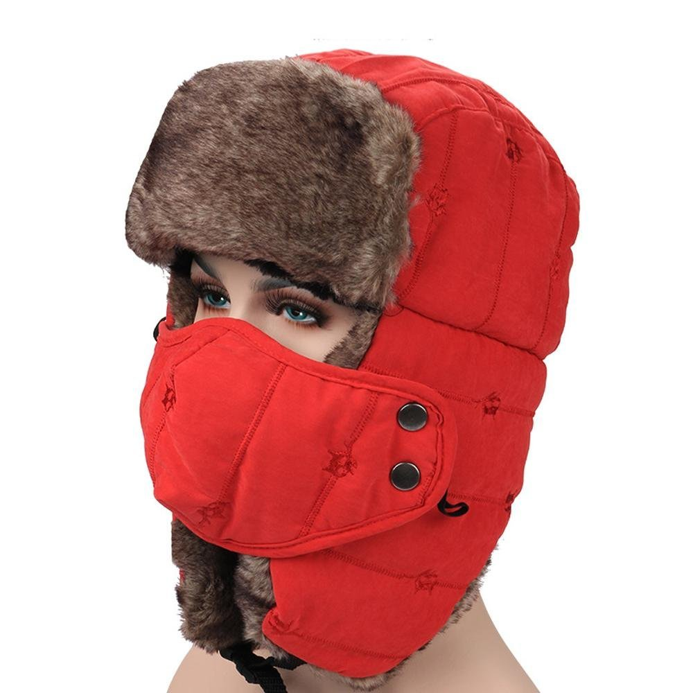 86f14c70f82 Ukong Unisex Russian Style Winter Trooper Hat Hunting Hat Ear Flap Chin  Strap and Windproof Mask