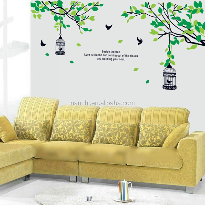 Large Green Tree Branch And Birdcage Wall Stickers Wall Decal Art ...