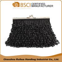 Popular design black ladies clutch handbag hobo beads bag