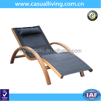 Outdoor Wooden Patio Reclining Lounge Chair Beach Pool Sun Lounger