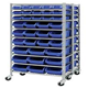 Heavy Duty Chrome Plated 9 Tiers Plastic Bin Wire Shelf Rack with PU Wheels