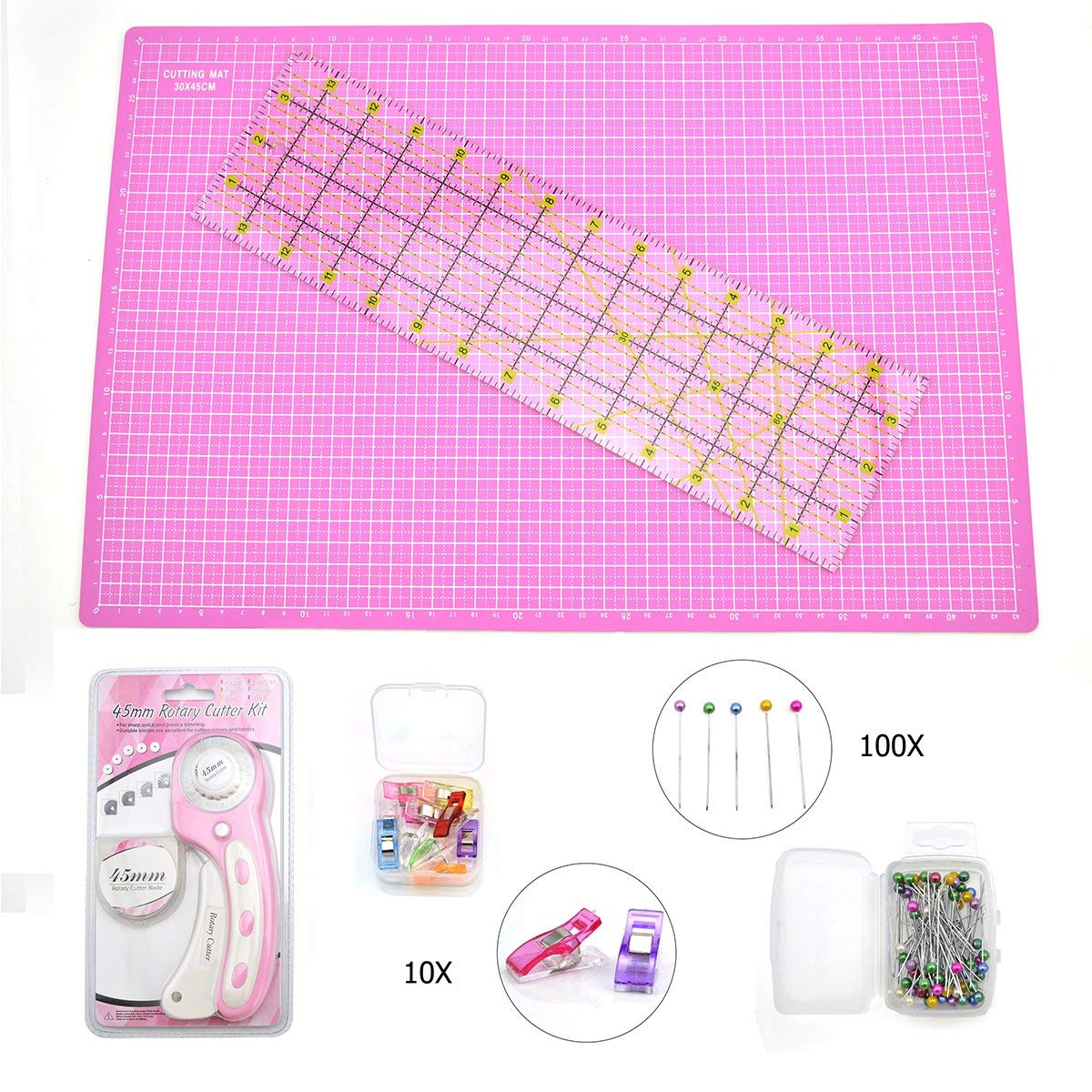 Rotary Cutter Quilting Kit, Set of 6 (6.5X24 Ruler, 18X24 Mat, 45mm Cutter, 45mm Blades 5 Pack,50pc Head pins,10pcs Clips)