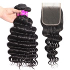 Indian Loose Deep Wave Hair Weave 3 Bundles With Lace Closure Mink Bundle Hair With Closure