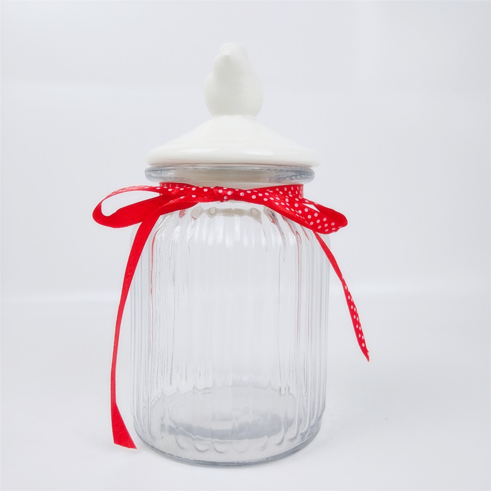 Cylinder Shape Glass Jar with Ceramic White Stand Bird Airtight Lid
