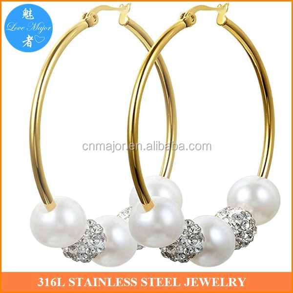 24k gold Stainless Steel Rhinestone Beaded Ball fake pearl Hoop Earrings mexico Women