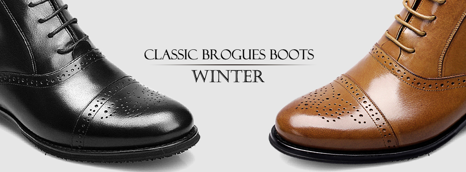 a68bf503e792 CF Winter Tall Black Brogue Leather Lace Up Ankle Boots Flat Heel Red Sole  Men Dress