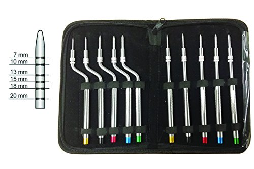 Osteotomes Tapered 10-Pcs. Kit, 5-Pcs. Straight and 5-Pcs. Curved Tip sizes 2.7mm , 3.0mm, 3.7mm, 4.5mm, 5.0mm