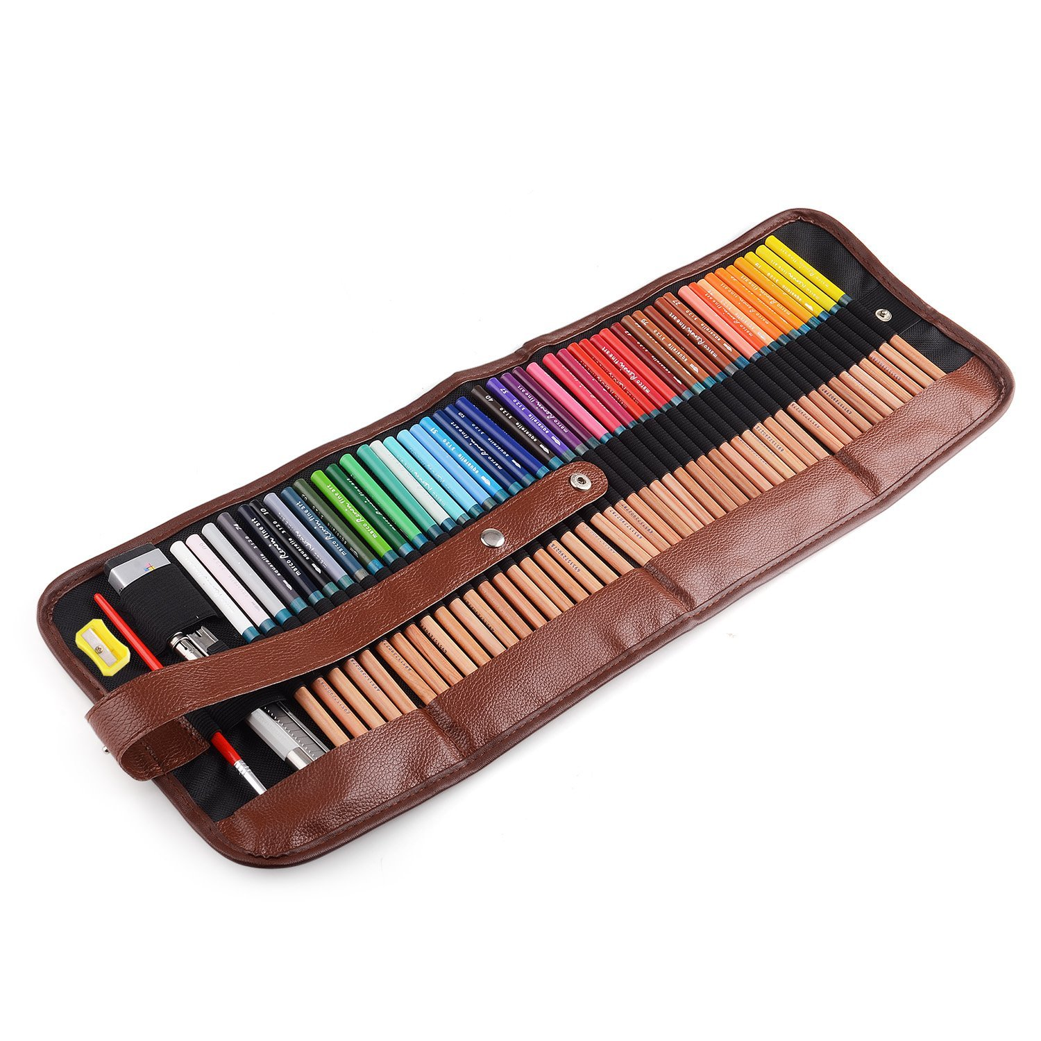 Marco Renoir Fine Art 48 Water Color Drawing Pencils +Eraser pencil extender Set With Metal Tin and Roll Up Pouch Canvas Pen bag for Artist Writing Sketching Secret Garden Coloring Book