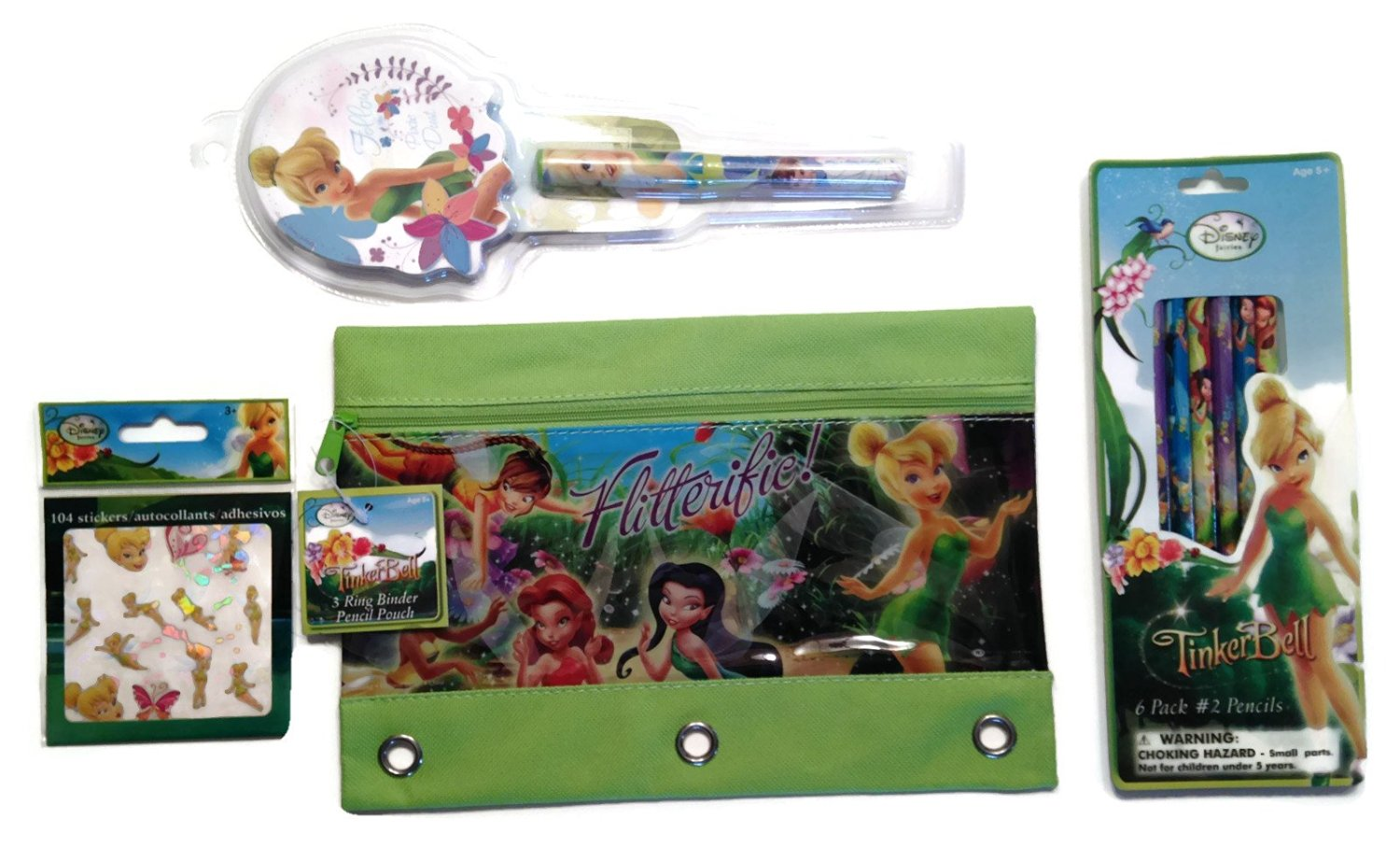 Disney Tinkerbell Flitterific Fairies Back to School Supply Pencil Pouch Bundle - Four Items: One 3 Ring Binder Pencil Pouch, One Book of 104 Autocollants Tinkerbell Stickers, One Pack of 6 Fairy Pencils, One Pixie Dust Notepad & Pen Set