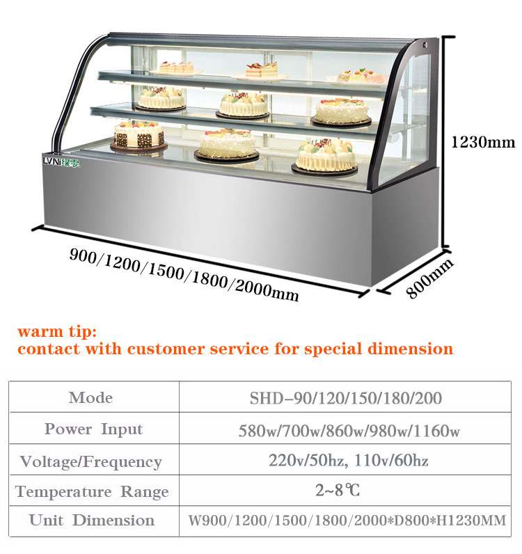 LVNI glass stainless steel display cold storage cake showcase refrigerator for bakery