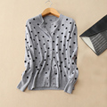 Kashana women s knitting cardigan 100 cashmere with dot decor O neck long sleeves