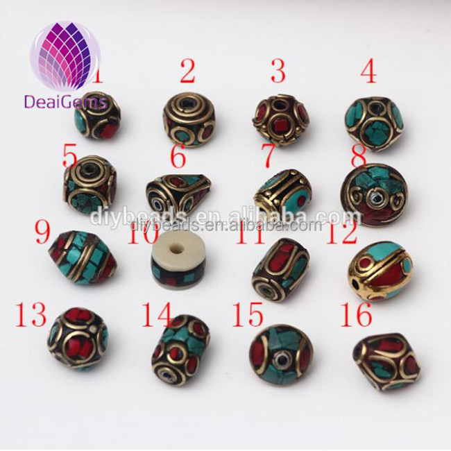 Various shaped fashion tibetan brass turquoise coral beads Nepal brass beads