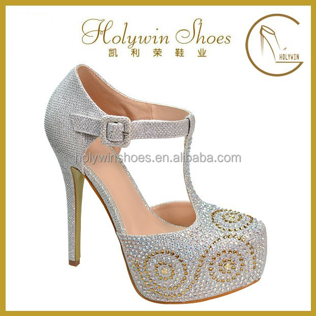 Fashion evening shoes with stones high heel women' shoe
