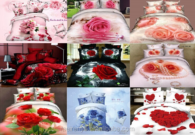 100% cotton 2015 new design for rose 3d duvet cover set queen size wedding bedding