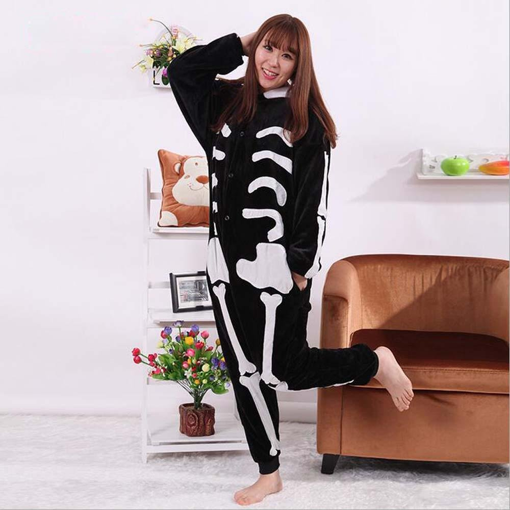 94c843fe07e Get Quotations · Animal Cartoon skeleton skeleton fleece couple home  uniform Siamese pajamas