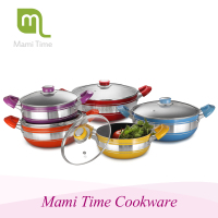 Mami time 4 pcs Aluminium ceramic low sauce pot /deep frying pan with lid