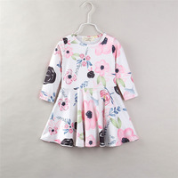 Yawoo hotsale baby white with floral print fabric long sleeve fall latest children girls party boutique dresses
