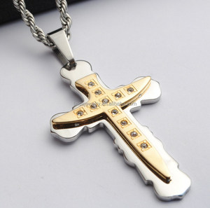 2018 new style cross jewelry Stainless steel gold plated ethiopian cross pendant SCP115