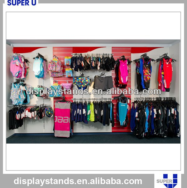 shopping mall swim wear display cabinet with slot back panel