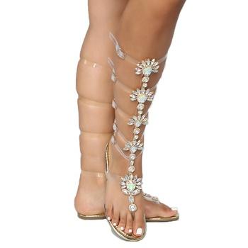 9d7d31fccfbd Stylish Gems Rose Gold PVC Shoes Rhinestones Flat Knee High Gladiator  Sandals