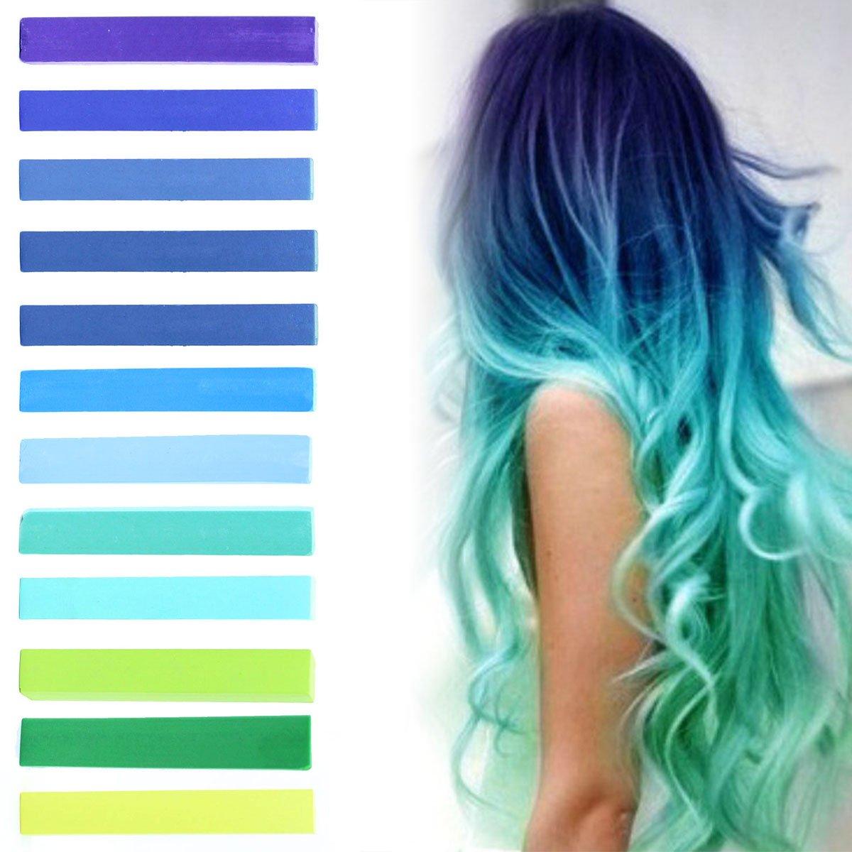 Buy Best Green Blue Hilary Duff Ombre Hair Dye Set Of 12 Chalks