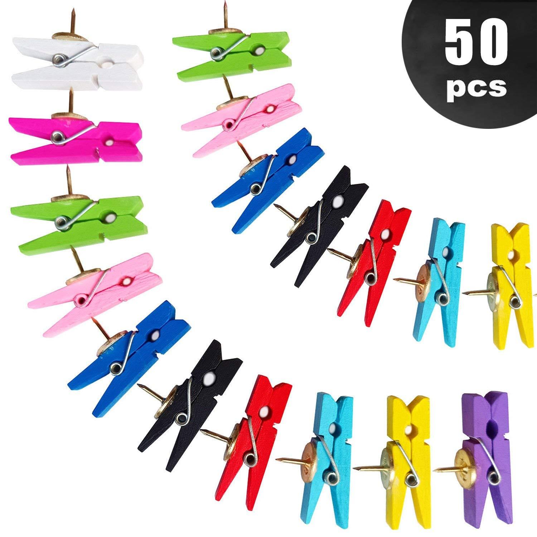 Toosunny 50 Pcs Push Pins with Colored Natural Wooden Clips Pushpins Tacks Thumbtacks for Cork Boards,10 Colors