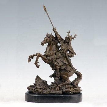 Home decoration bronze soldier knight armor and horse statue with horse