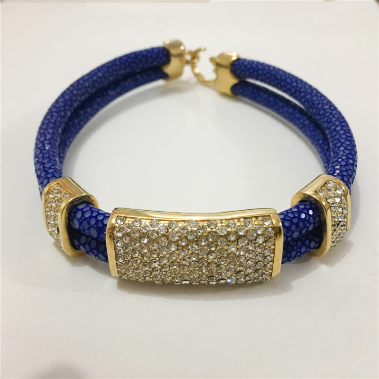 Fashion Hand Jewelry Genuine Stingray Leather Bracelet Stainless Steel Pave Clear CZ Stingray Skin Bracelet