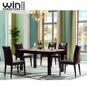 Modern Marble Dining Table Home Use Metal And Chair Set