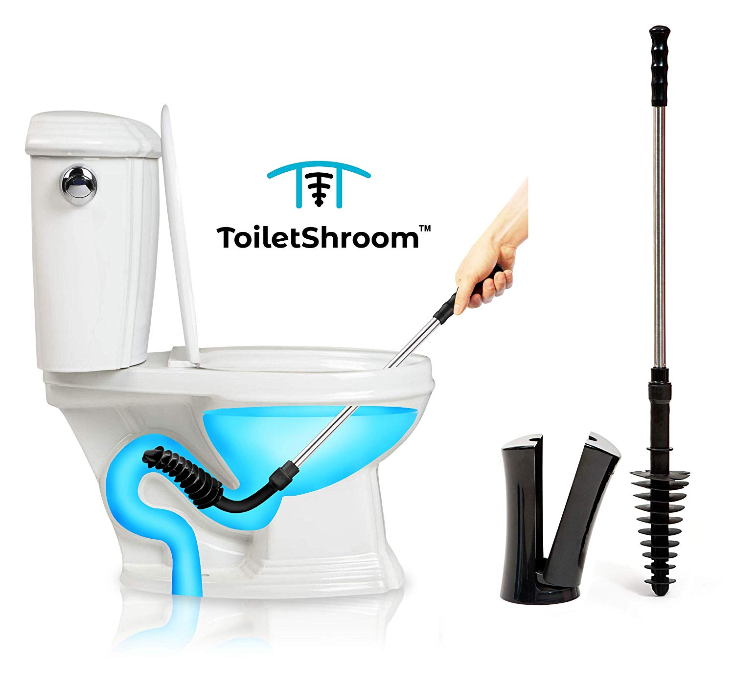 ToiletShroom Revolutionary Plunger, Squeegee, Clog Remover, Drain Cleaner, Bathroom Toilet Dredge Tool, Stainless Steel Handle with Caddy Holder, Black