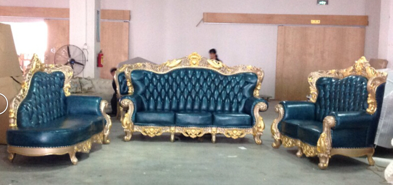 New Italian Bule Leather Sofa Fancy Furniture Antique Gold