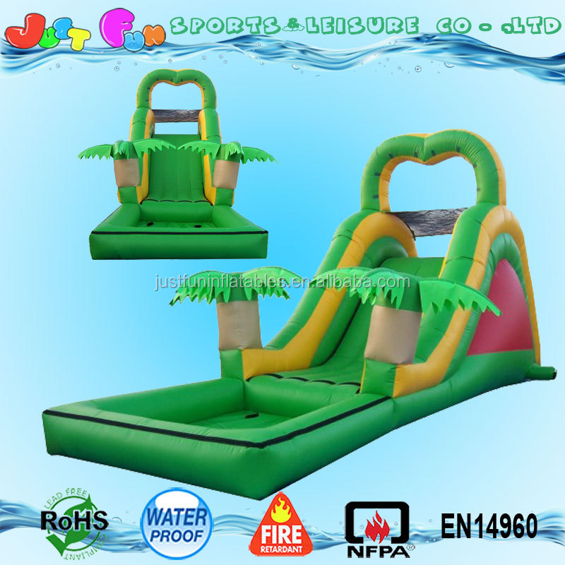 backyard tropical inflatable wet green small water slide with pool for kids
