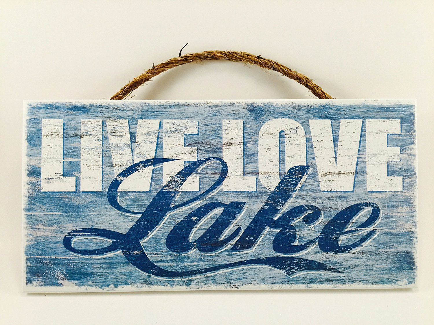 Home Decor Wood Signs with Quotes Inspirational & Sometimes Funny Sayings Rustic Wood Signs- Hanging Signs (Live Love Lake, 56-531)