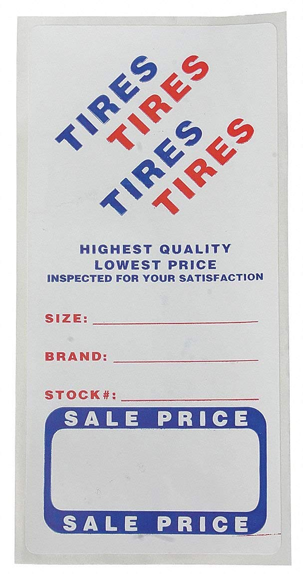 """3"""" x 6"""" Paper with Adhesive Backing Adhesive Tire Label, Roll, White; PK500"""