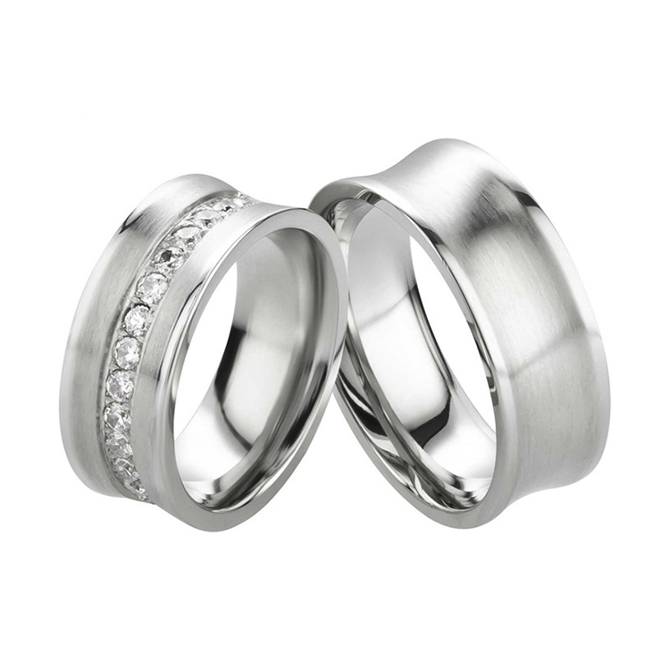 316L Stainless Steel Black Greek Key Ring Wedding Bands