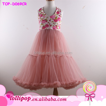 f1e815330 Girls casual frock designs vest dress printed flower petal chiffon dress  with pink for girl baby