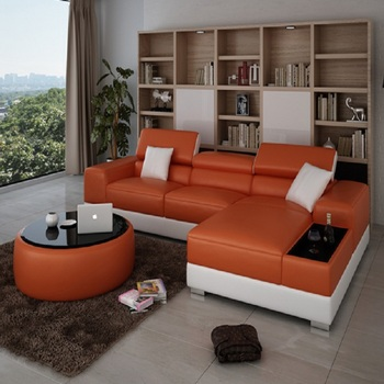 Orange Modern New Design Floor Leather Corner Sofa Lounge - Buy Modern New  Design Corner Sofa,Orange Leather Sofa,Floor Lounge Sofa Product on ...