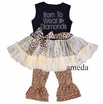Rhinestone Born To Wear Diamonds Black Cream Ruffled Top with Brown Leopard Pants and Sash Outfit