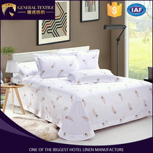 Cheap 60*40s 300TC cotton luxury hotel bedding printing bed sheet