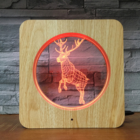Christmas deer toy lamp creative design 3d night lamp plastic frame led light with 7 color changing available for kids present