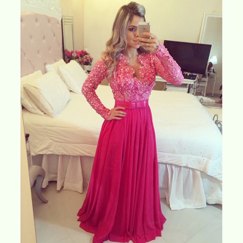 Custom Made Sexy Chiffon V Neck Floor Length Bow Sequins Beaded Long Prom Dress Evening Dress