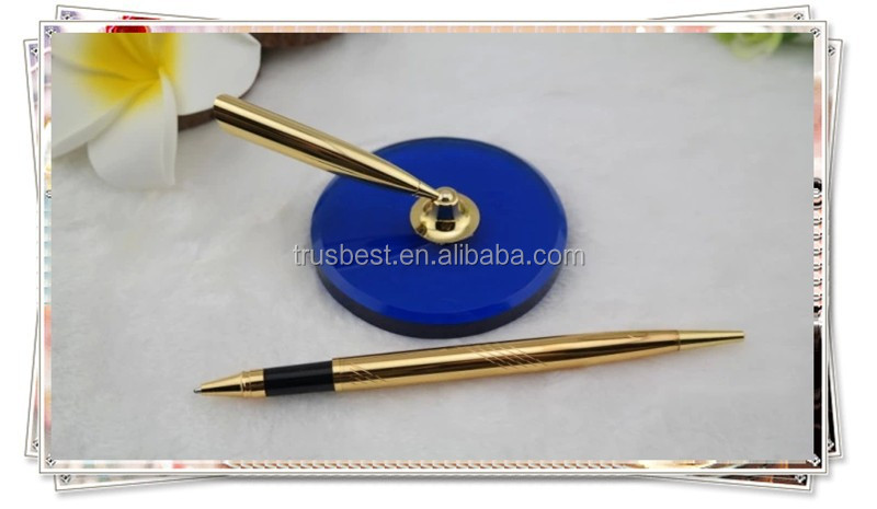 TT- 08 luxury golden desk pen holder, long table pen with round holder